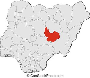 Map - Nigeria, Plateau - Map of Nigeria with the provinces,...