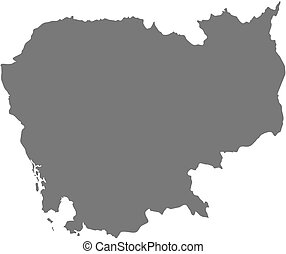 Map - Cambodia - Map of Cambodia as a dark area.