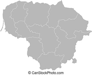 Map - Lithuania - Map of Lithuania with the provinces.