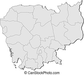 Map - Cambodia - Map of Cambodia with the provinces