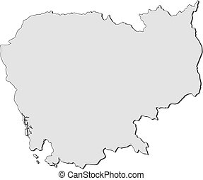 Map - Cambodia - Map of Cambodia, filled in gray.