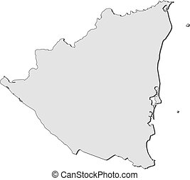 Map - Nicaragua - Map of Nicaragua, filled in gray