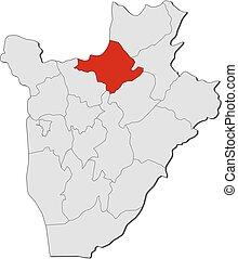 Map - Burundi, Ngozi - Map of Burundi with the provinces,...