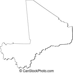 Map - Mali - Map of Mali, contous as a black line
