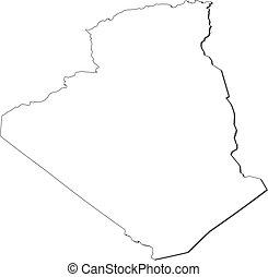 Map - Algeria - Map of Algeria, contous as a black line