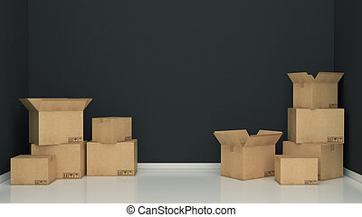 Boxes in empty room 3D