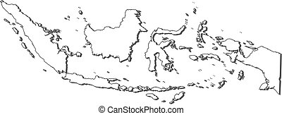 Map - Indonesia - Map of Indonesia, contous as a black line