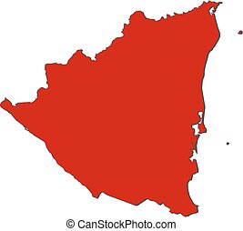 Map - Nicaragua - Map of Nicaragua with the provinces,...