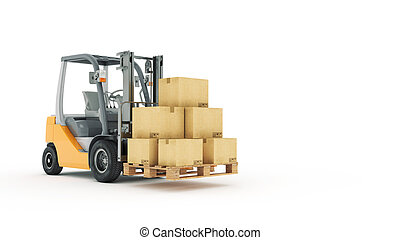 Forklift truck with cardboard boxes