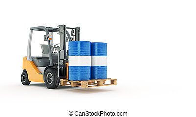 Modern forklift truck with metal ba