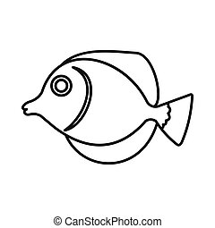 Tang fish, Zebrasoma flavescens icon in outline style...