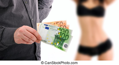 Love for sale - Man is paying for sex in euro banknotes