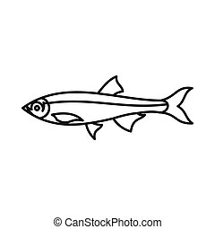 Herring fish icon, outline style - Herring fish icon in...