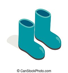 Rubber boots icon, isometric 3d style - Rubber boots icon in...