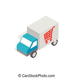 Truck for delivery icon, isometric 3d style
