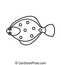 Flounder fish icon, outline style - Flounder fish icon in...