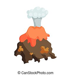 Volcano erruption and lava icon, cartoon style - Natural...