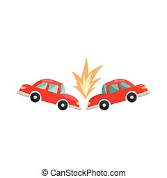 Car accident icon, cartoon style