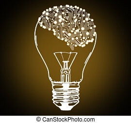 brain and lightbulb - circuit board form of human brain and...