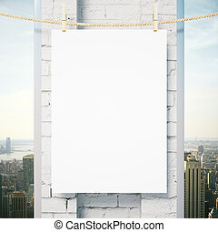 Blank poster outside - Blank poster hanging outside on rope...