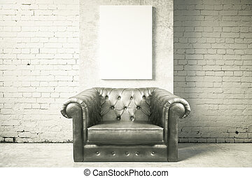 Armchair and blank poster - Luxurious black leather armchair...