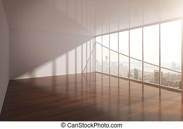 Spacious interior with railing and windows with city view 3D...