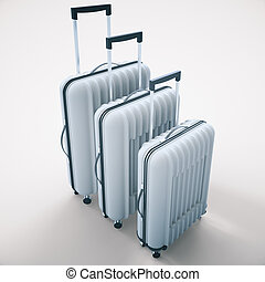 Grey suitcases on light background - Three diffrent sized...