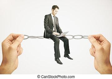 Balancing concept, businessman with notebook - Balancing...