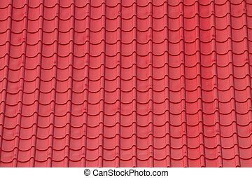 Red corrugated tile element of roof - Pattern Red corrugated...