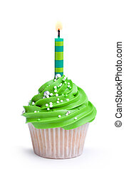 Birthday cupcake - Cupcake decorated with green frosting and...