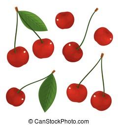 Vector set of red cherries