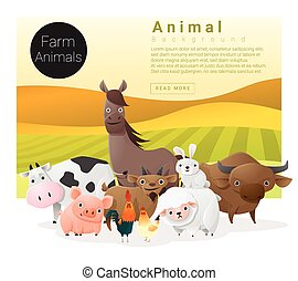 Cute animal family background with farm animals 1 - Cute...