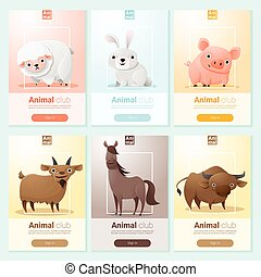 Farm animals banner for web design , vector , illustration