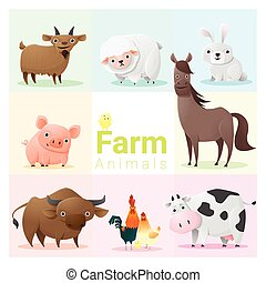 Set of farm animals , vector , illustration