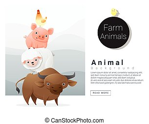 Farm animals background , vector , illustration