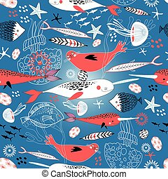 Seamless pattern with seals and whales