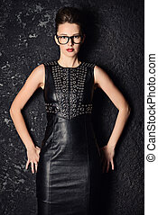 fashionable woman - Attractive young woman alluring in black...