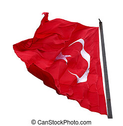 Turkish flag waving in windy day Isolated on white...