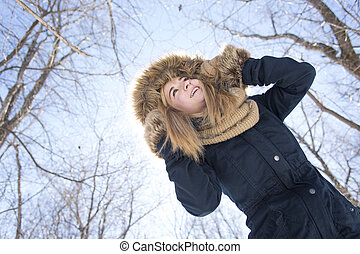 Attractive young woman in wintertime outdoor - An Attractive...