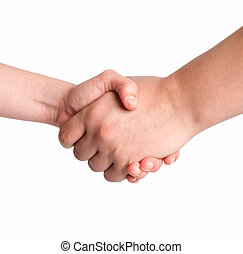 Man and woman handshake isolated on white background