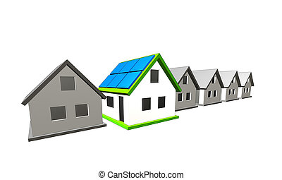 house eow - a house with solar planels on the roof
