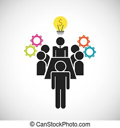 Pictogram bulb gears icon. Businesspeople design. Vector...