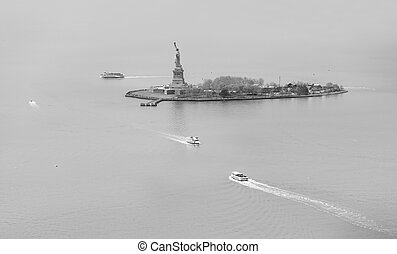 aerial view of statue of liberty in New York - Black and...