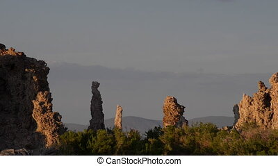 Calcium Spires at Mono Lake slow pan left - Tufa Towers...