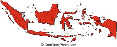 Map - Indonesia - Map of Indonesia with the provinces,...