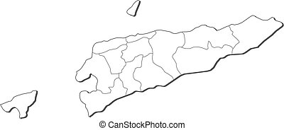 Map - East Timor - Map of East Timor, contous as a black...