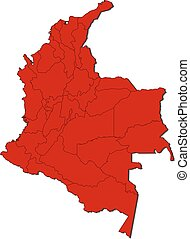 Map - Colombia - Map of Colombia with the provinces, colored...