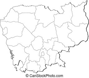 Map - Cambodia - Map of Cambodia, contous as a black line.