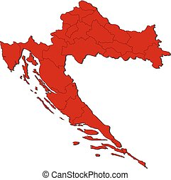 Map - Croatia - Map of Croatia with the provinces, colored...