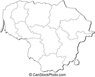 Map - Lithuania - Map of Lithuania, contous as a black line